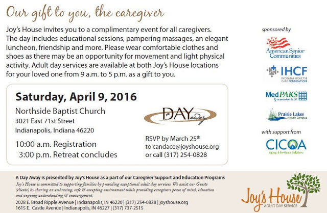 Joy's House 2016 Day Away Free Family Caregiver Retreat & Spring Flower Sale