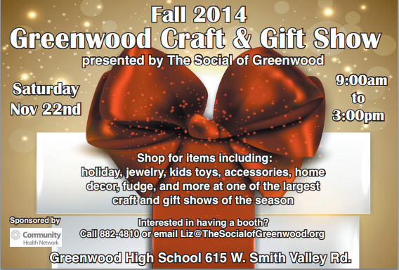 Fall 2014 Greenwood Craft and Gift Show: Presented by the Social of Greenwood
