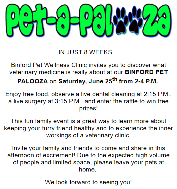 Pet Palooza Coming to Binford Pet Wellness Clinic in Indianapolis
